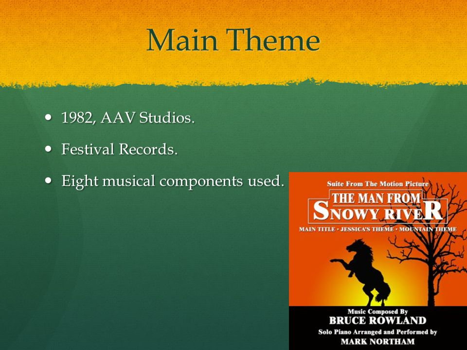 Main Theme 1982, AAV Studios. 1982, AAV Studios. Festival Records. Festival Records. Eight musical components used. Eight musical components used.
