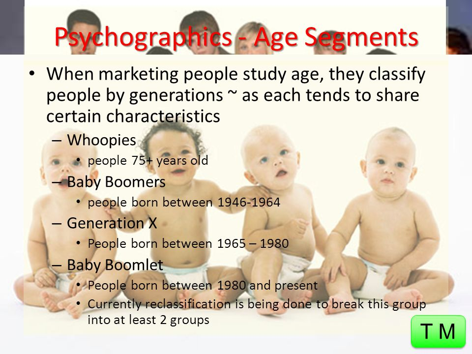 Target Markets - Demographics Refers to statistics that describe a population in terms of personal characteristics, including: – Age 4+ Different segments – Gender – Income – Ethnic background – Education T M