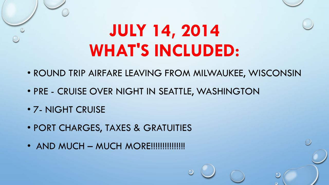 IMPORTANT NOTES: A VALID PASSPORT IS REQUIRED $350 DEPOSIT IS DUE BY DECEMBER 1, 2013 FINAL PAYMENT IS DUE ON MAY 15, 2014