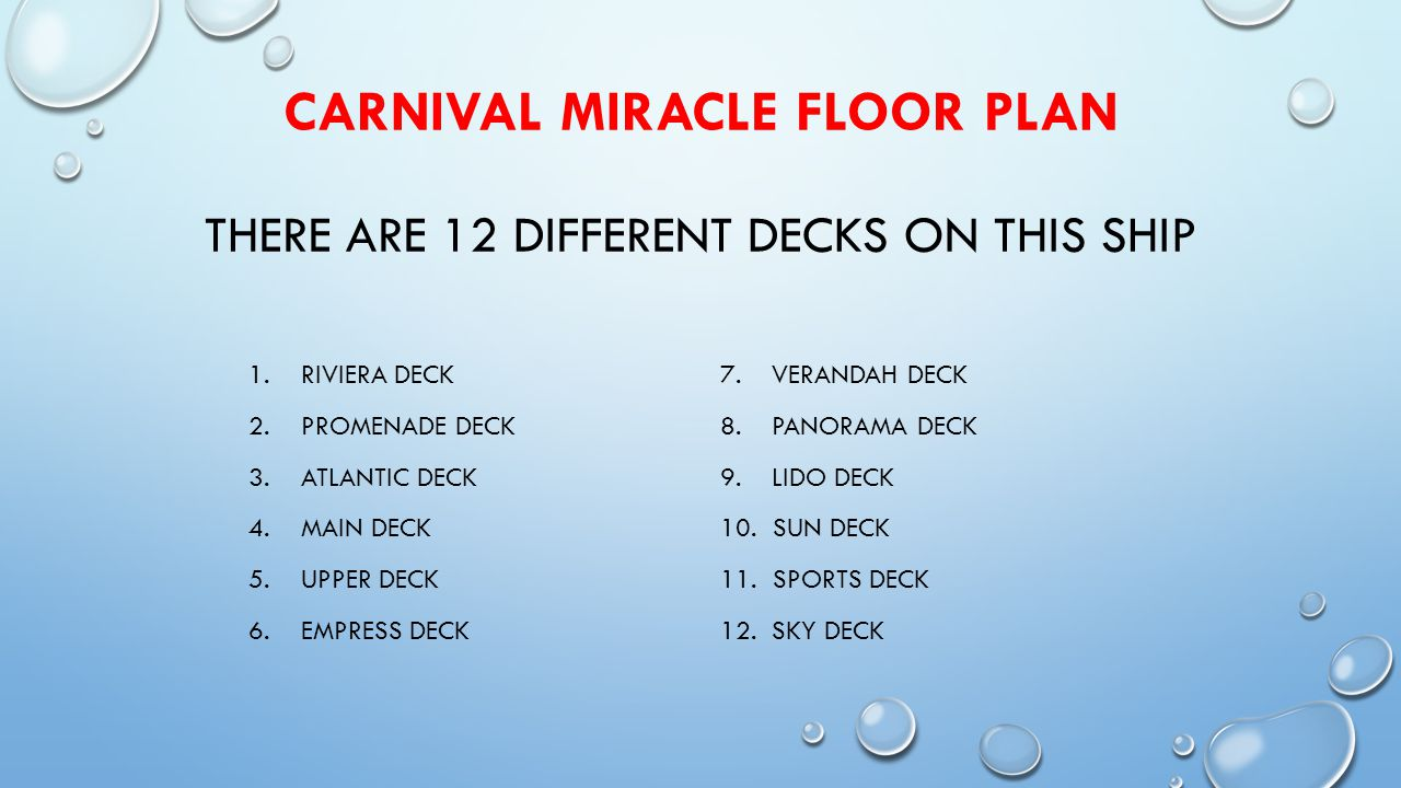 CARNIVAL MIRACLE FLOOR PLAN THERE ARE 12 DIFFERENT DECKS ON THIS SHIP 1.RIVIERA DECK 2.PROMENADE DECK 3.ATLANTIC DECK 4.MAIN DECK 5.UPPER DECK 6.EMPRESS DECK 7.