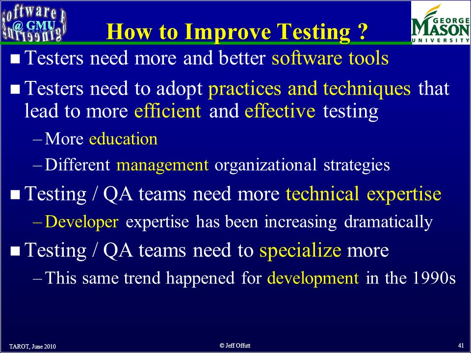 How to Improve Testing .