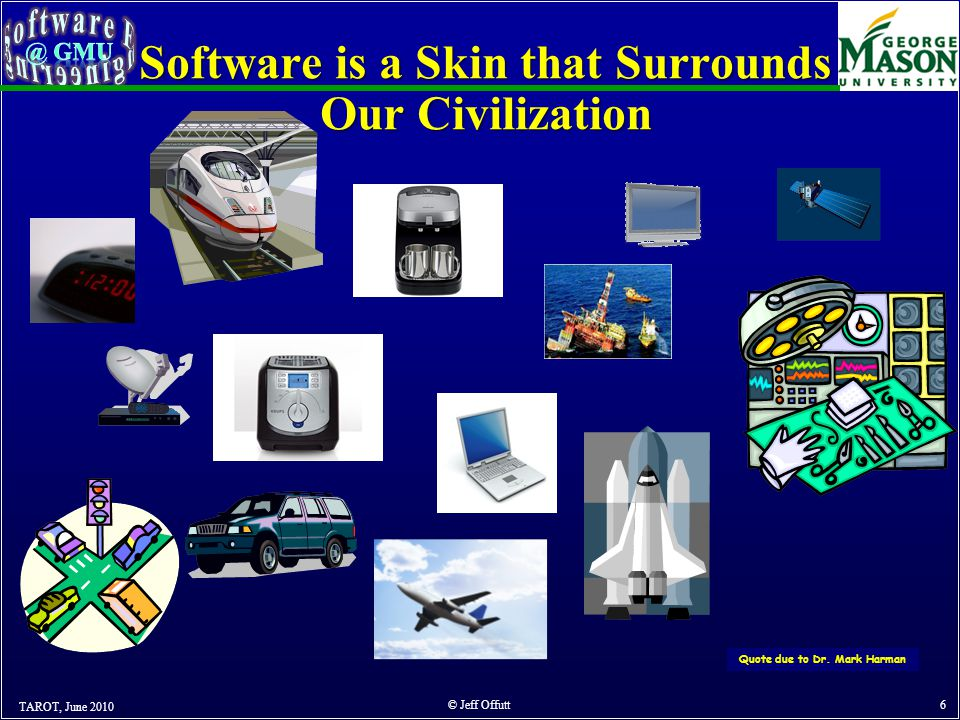 Software is a Skin that Surrounds Our Civilization TAROT, June 2010 © Jeff Offutt 6 Quote due to Dr.