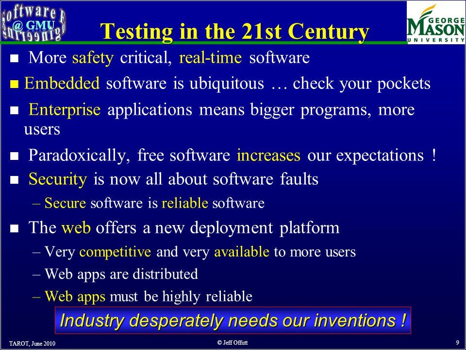 OUTLINE TAROT, June 2010 © Jeff Offutt 10 1.Spectacular Software Failures 2.What Do We Do When We Test .