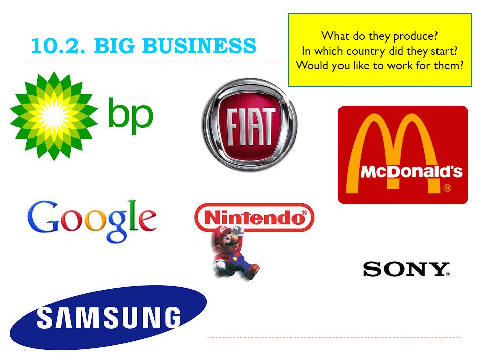 10.2. BIG BUSINESS SPEAKING What do they produce? In which country did they start? Would you like to work for them?