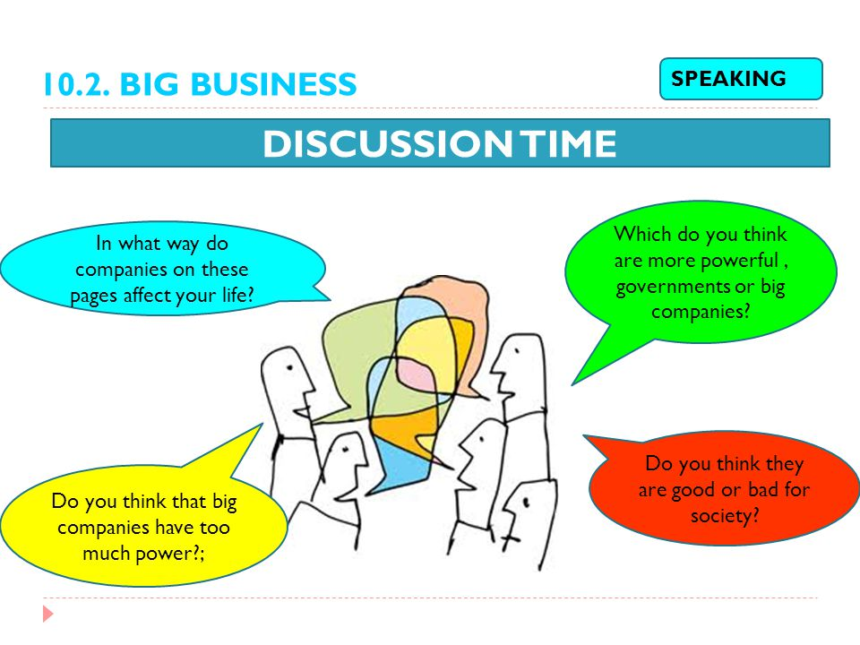 DISCUSSION TIME SPEAKING In what way do companies on these pages affect your life? Which do you think are more powerful, governments or big companies?
