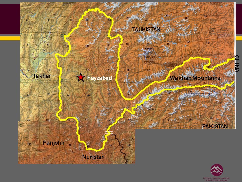Wakhan Mountains TAJIKISTAN Takhar Panjshir Nuristan PAKISTAN CHINA Fayzabad