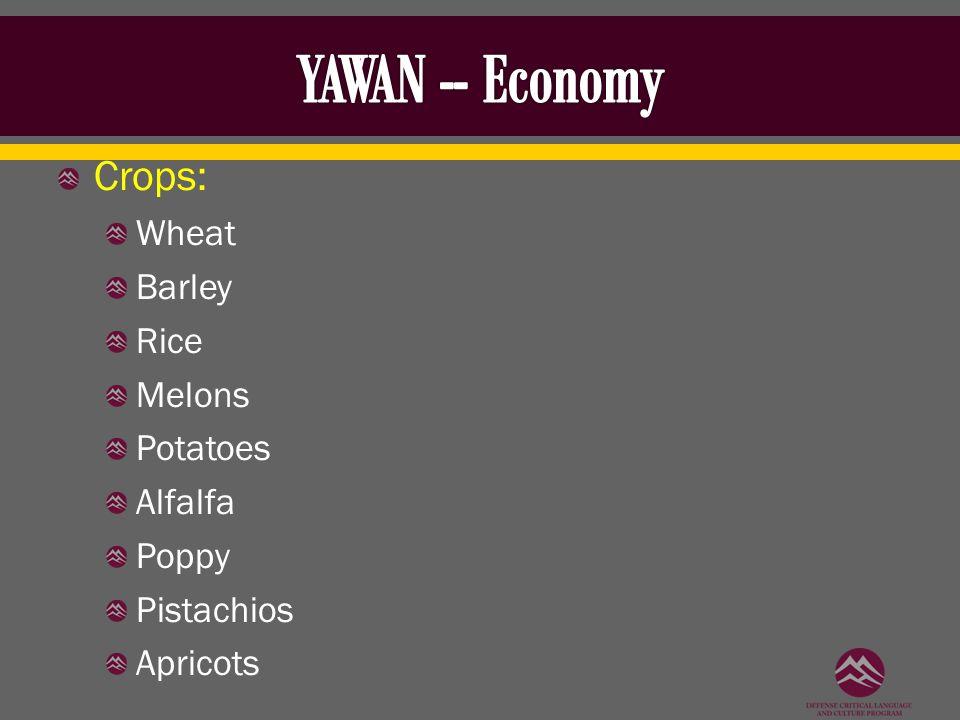 Crops: Wheat Barley Rice Melons Potatoes Alfalfa Poppy Pistachios Apricots