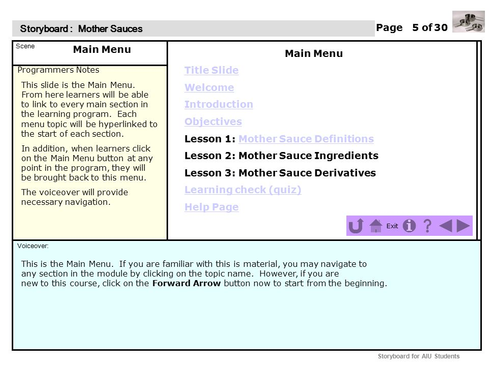 Programmers Notes Page of Scene Voiceover: Storyboard : Mother Sauces Storyboard : Mother Sauces Exit Storyboard for AIU Students Upon entry to this screen the Mother Sauce Definitions title will appear first.