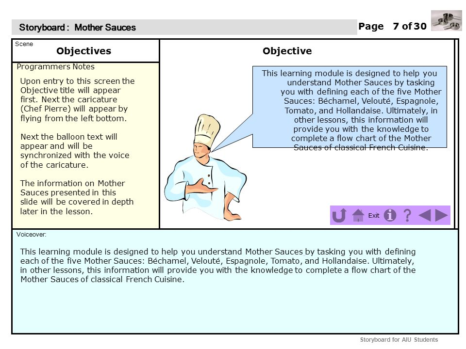Programmers Notes Page of Scene Voiceover: Storyboard : Mother Sauces Storyboard : Mother Sauces Exit Storyboard for AIU Students This hidden page has no animation, graphics, or voice.