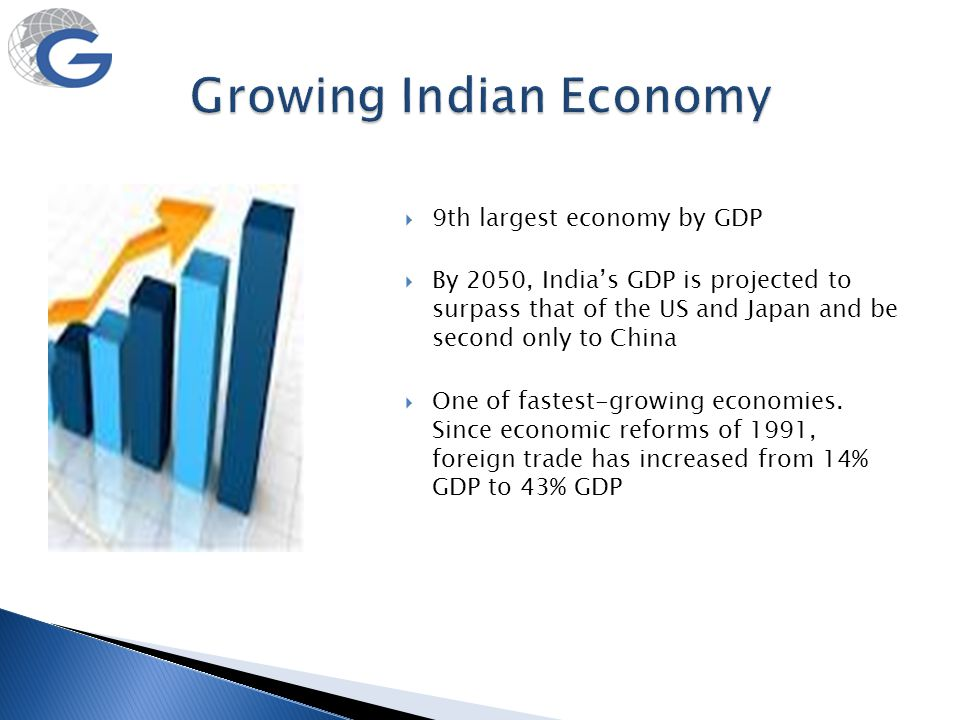  9th largest economy by GDP  By 2050, India's GDP is projected to surpass that of the US and Japan and be second only to China  One of fastest-grow
