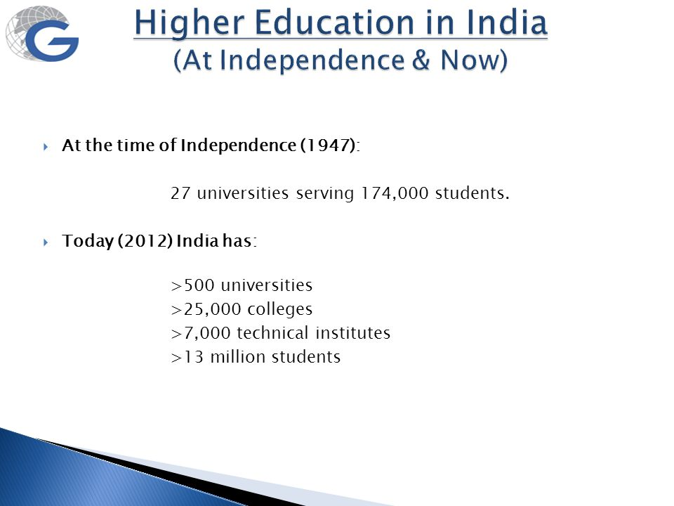  At the time of Independence (1947): 27 universities serving 174,000 students.  Today (2012) India has: >500 universities >25,000 colleges >7,000 te