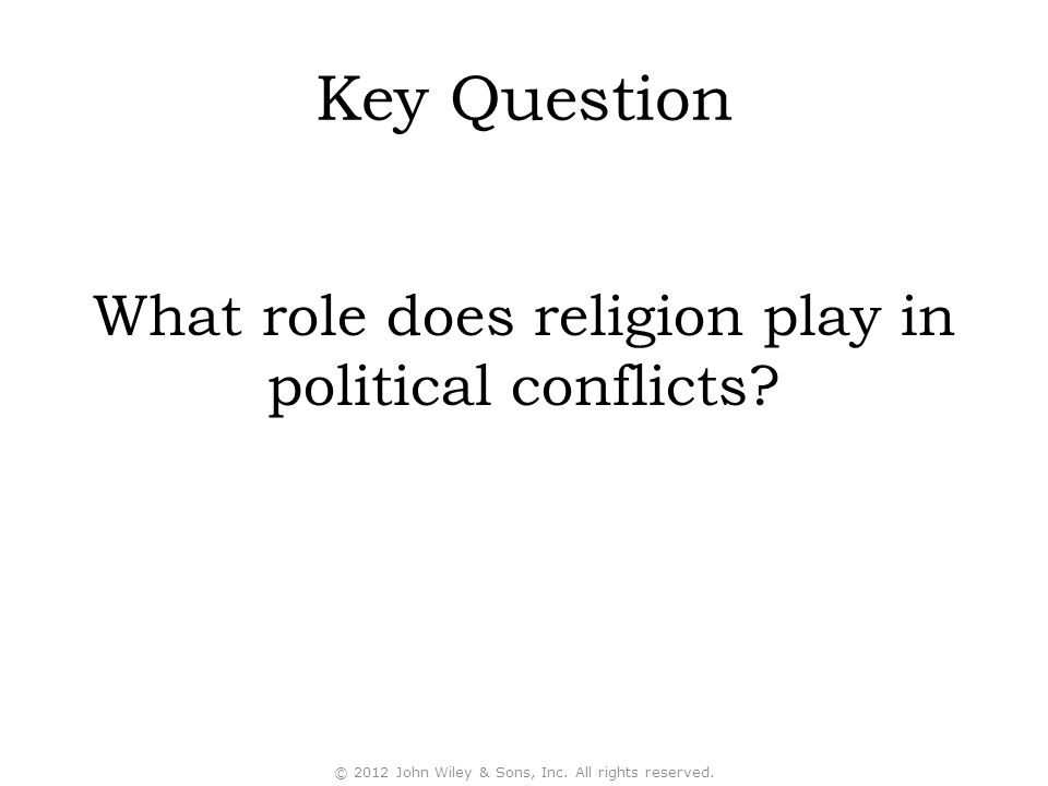 Key Question What role does religion play in political conflicts.