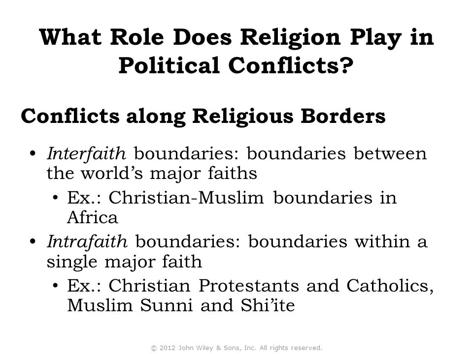 Conflicts along Religious Borders Interfaith boundaries: boundaries between the world's major faiths Ex.: Christian-Muslim boundaries in Africa Intrafaith boundaries: boundaries within a single major faith Ex.: Christian Protestants and Catholics, Muslim Sunni and Shi'ite © 2012 John Wiley & Sons, Inc.