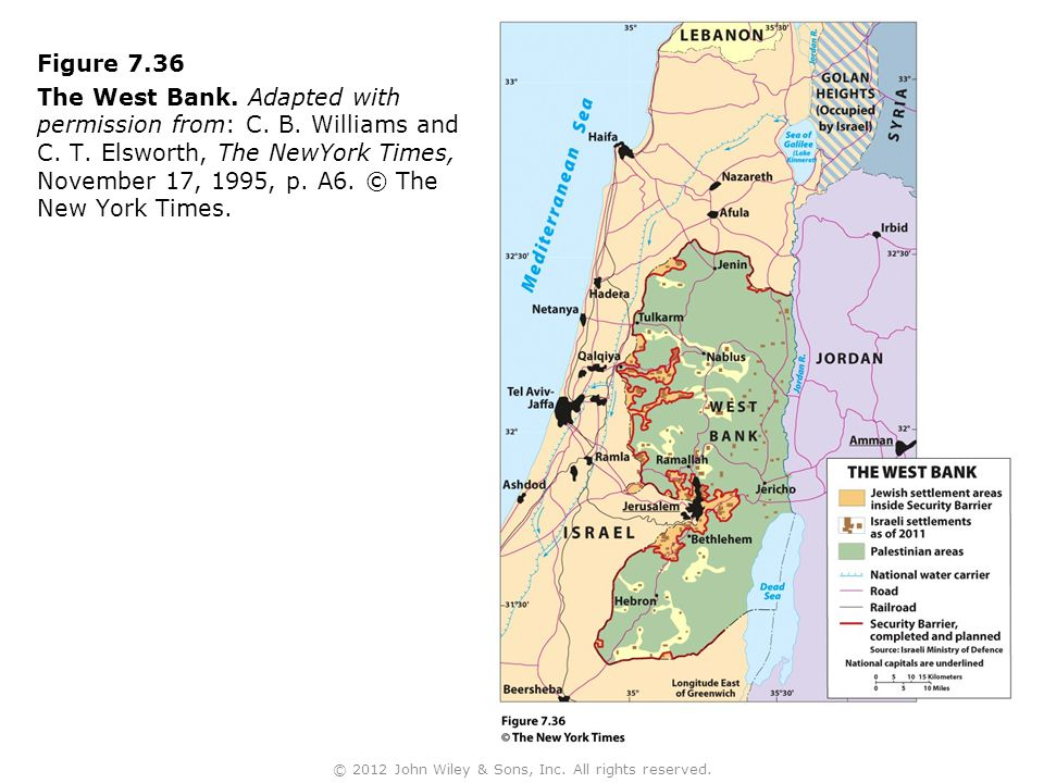 Figure 7.36 The West Bank. Adapted with permission from: C.