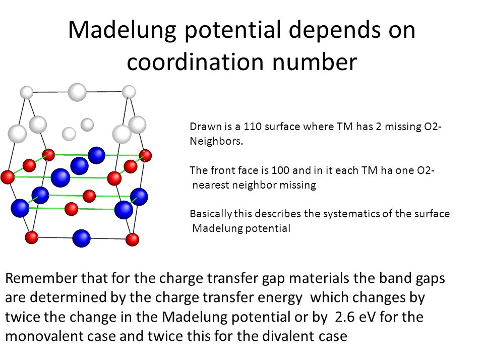 Madelung potential depends on coordination number Drawn is a 110 surface where TM has 2 missing O2- Neighbors. The front face is 100 and in it each TM