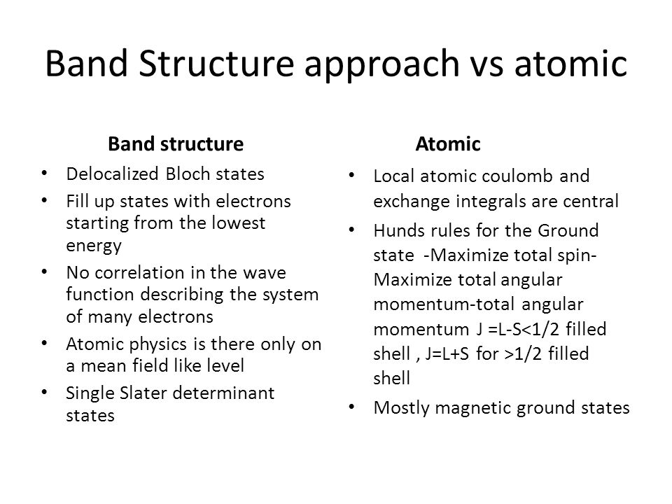 Band Structure approach vs atomic Band structure Delocalized Bloch states Fill up states with electrons starting from the lowest energy No correlation