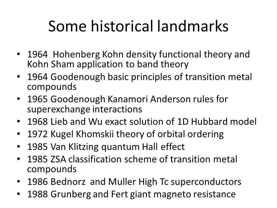 Some historical landmarks 1964 Hohenberg Kohn density functional theory and Kohn Sham application to band theory 1964 Goodenough basic principles of t