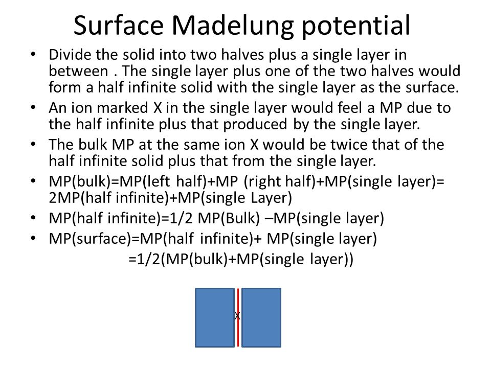 Surface Madelung potential Divide the solid into two halves plus a single layer in between. The single layer plus one of the two halves would form a h