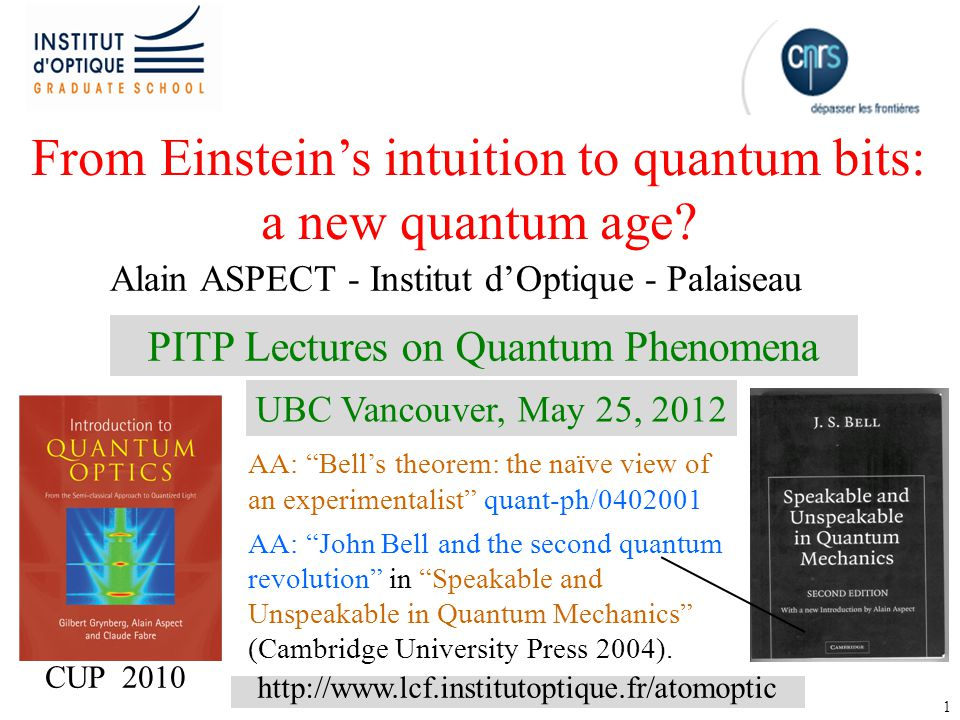 32 A new quantum age Entanglement A revolutionary concept, as guessed by Einstein and Bohr, strikingly demonstrated by Bell, put to use by Feynman et al.
