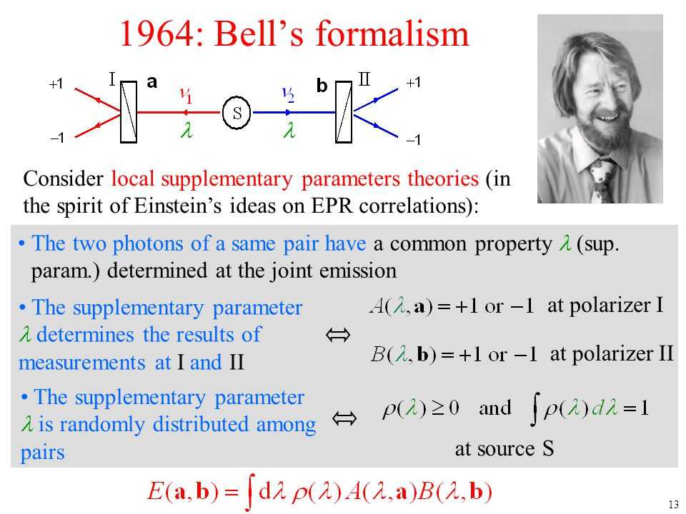 13 1964: Bell's formalism Consider local supplementary parameters theories (in the spirit of Einstein's ideas on EPR correlations): The supplementary