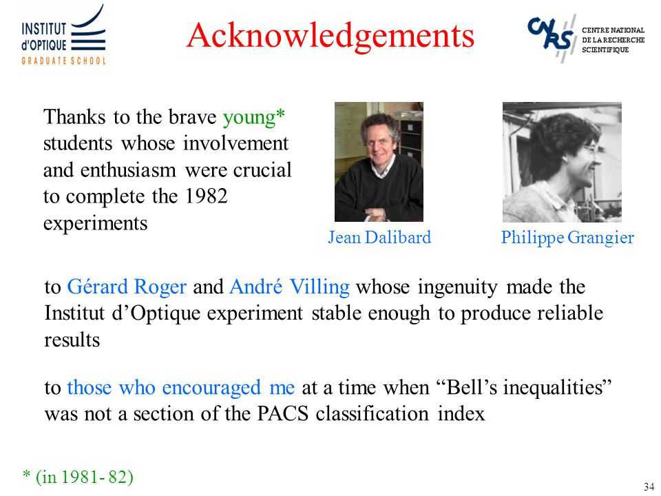34 Acknowledgements Thanks to the brave young* students whose involvement and enthusiasm were crucial to complete the 1982 experiments * (in 1981- 82)