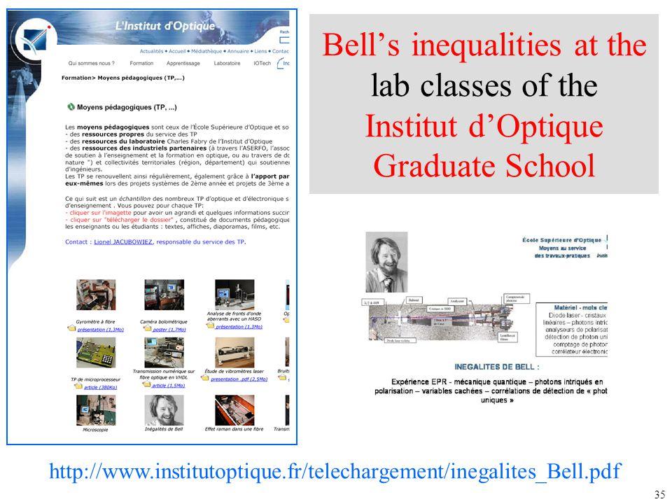 35 Bell's inequalities at the lab classes of the Institut d'Optique Graduate School http://www.institutoptique.fr/telechargement/inegalites_Bell.pdf