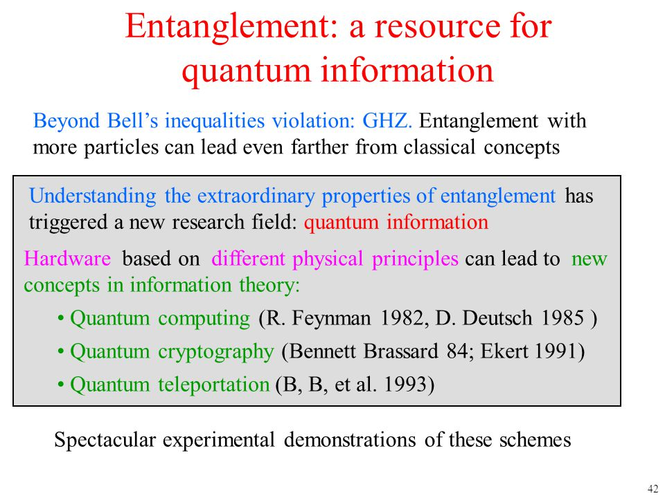 42 Entanglement: a resource for quantum information Hardware based on different physical principles can lead to new concepts in information theory: Qu