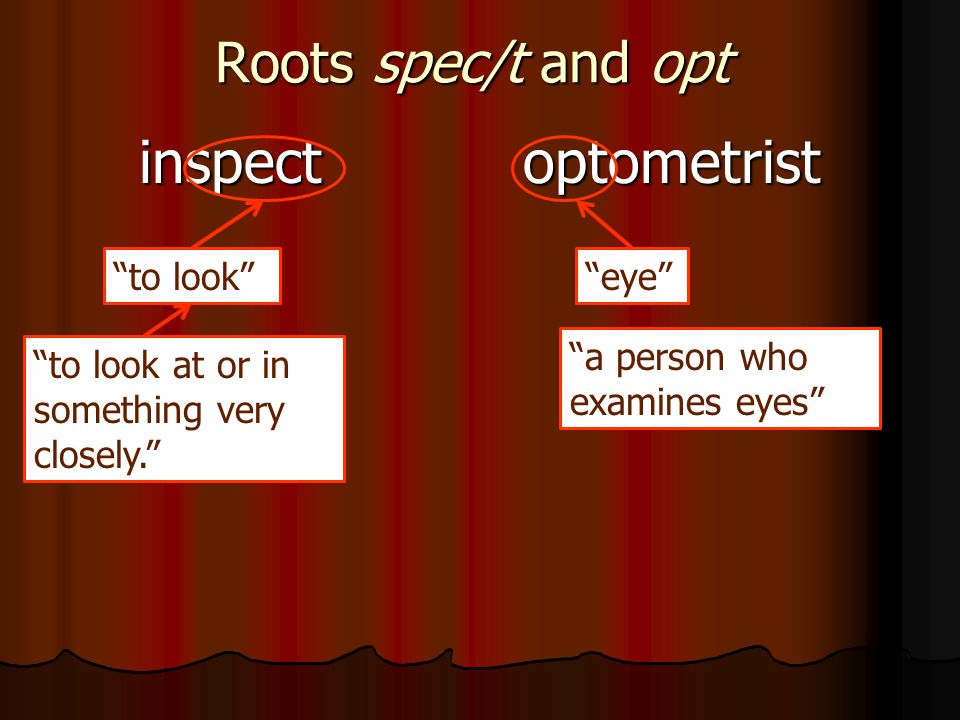 Roots spec/t and opt inspectoptometrist to look eye to look at or in something very closely. a person who examines eyes