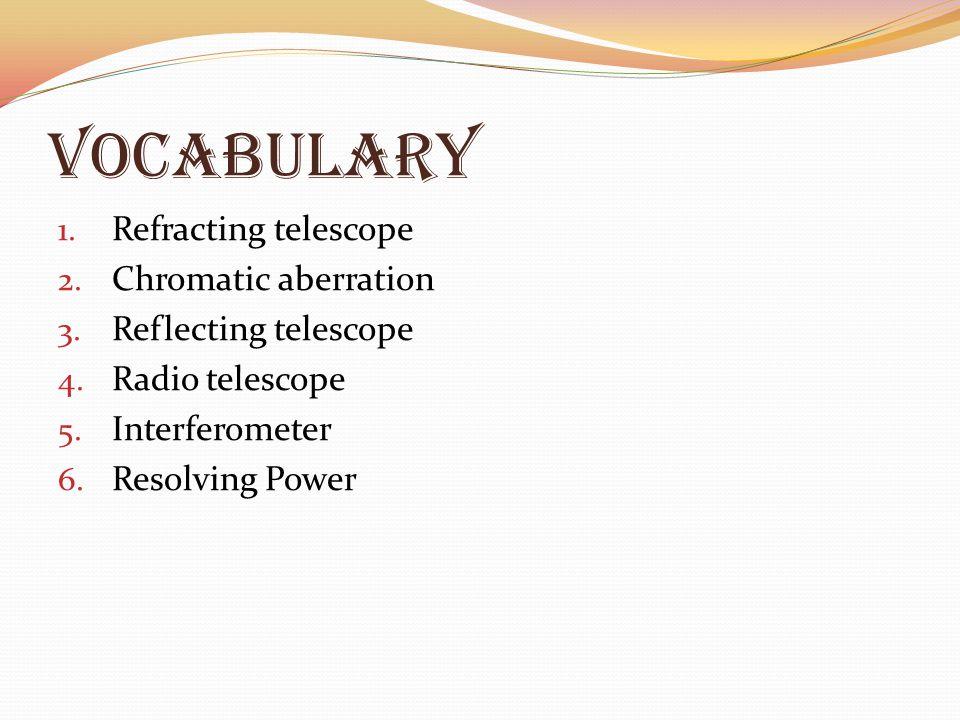 Vocabulary 1.Refracting telescope 2. Chromatic aberration 3.