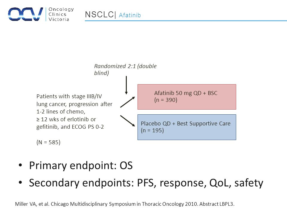 Primary endpoint: OS Secondary endpoints: PFS, response, QoL, safety Miller VA, et al.