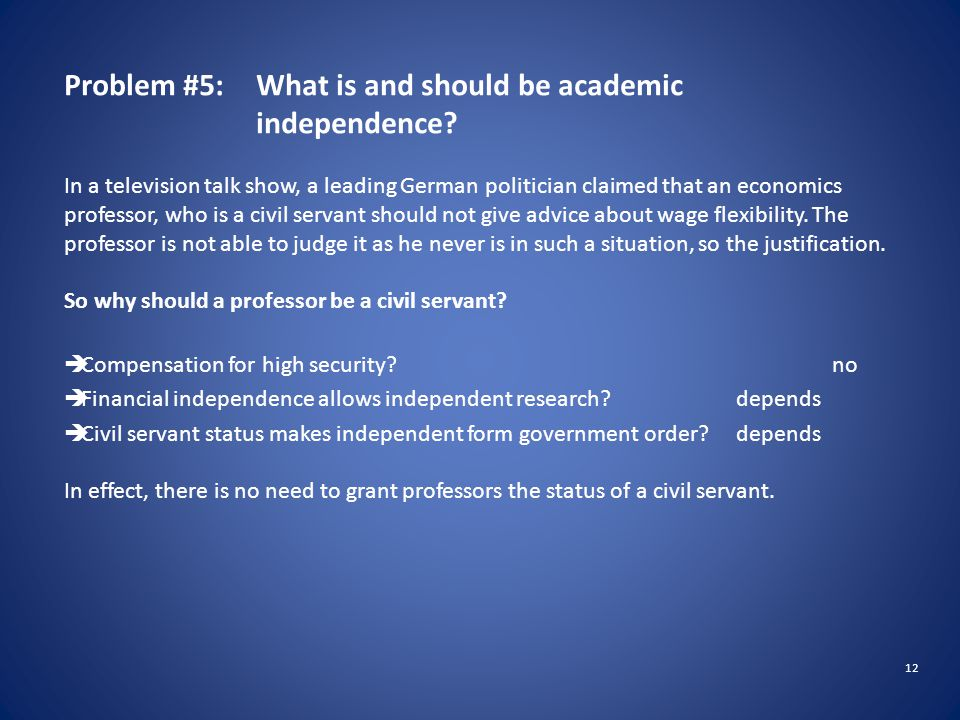 12 Problem #5: What is and should be academic independence.
