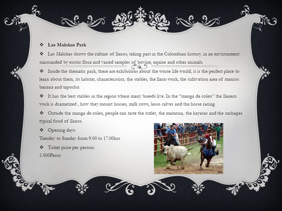  Las Malokas Park  Las Malokas shows the culture of llanos, taking part in the Colombian history, in an environment surrounded by exotic flora and varied samples of bovine, equine and other animals.