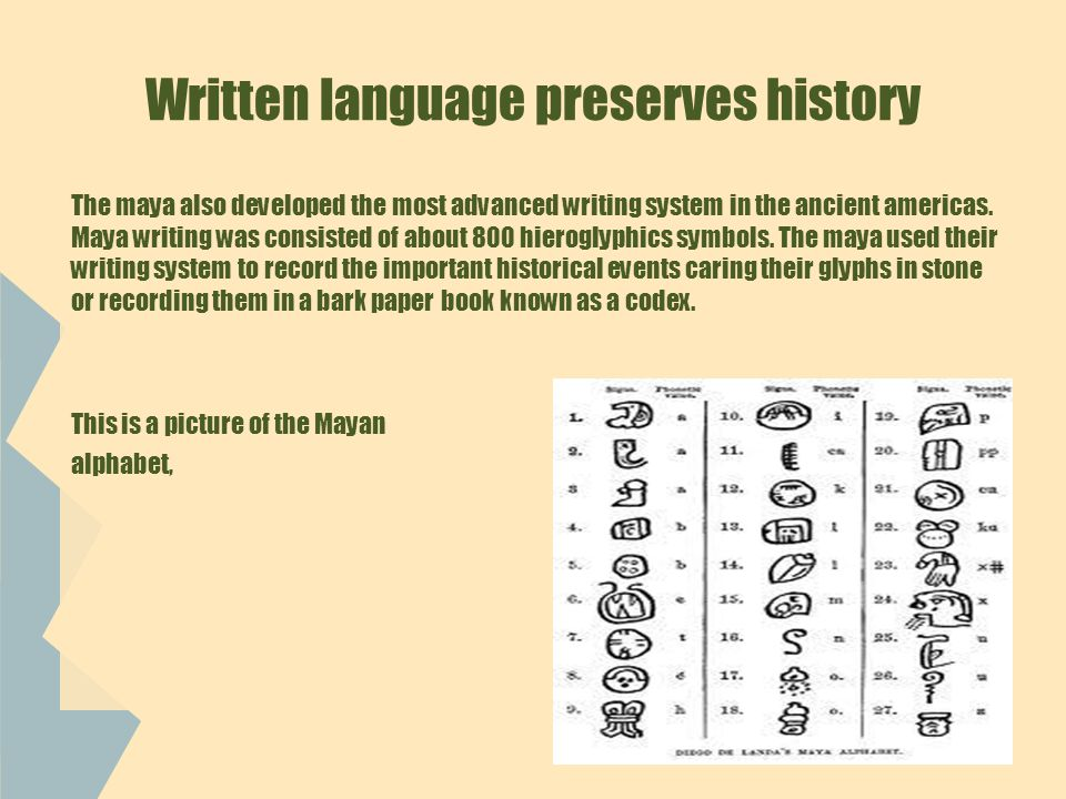 Written language preserves history The maya also developed the most advanced writing system in the ancient americas.