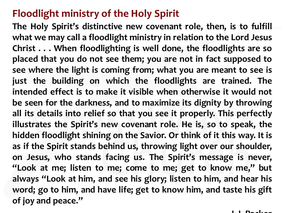Floodlight ministry of the Holy Spirit The Holy Spirit's distinctive new covenant role, then, is to fulfill what we may call a floodlight ministry in