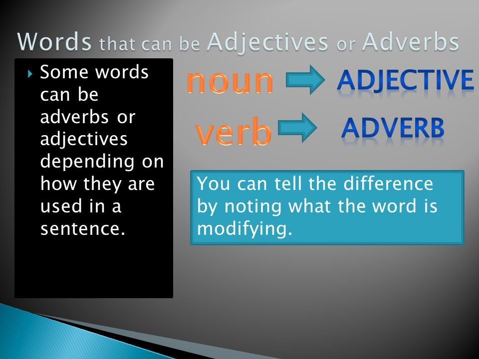  Some words can be adverbs or adjectives depending on how they are used in a sentence.