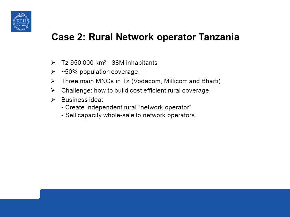 Case 2: Rural Network operator Tanzania  Tz 950 000 km 2 38M inhabitants  ~50% population coverage.