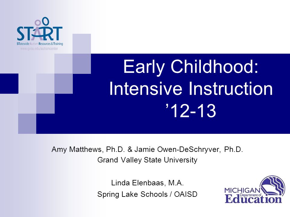 Early Childhood: Intensive Instruction '12-13 Amy Matthews, Ph.D. & Jamie Owen-DeSchryver, Ph.D. Grand Valley State University Linda Elenbaas, M.A. Sp