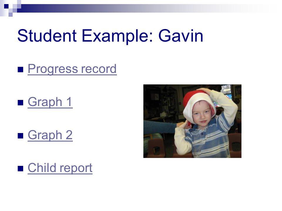 Student Example: Gavin Progress record Graph 1 Graph 2 Child report
