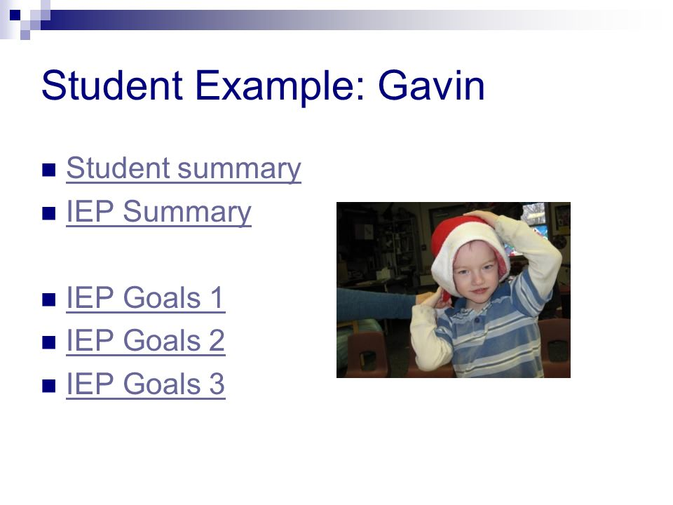 Student Example: Gavin Student summary IEP Summary IEP Goals 1 IEP Goals 2 IEP Goals 3