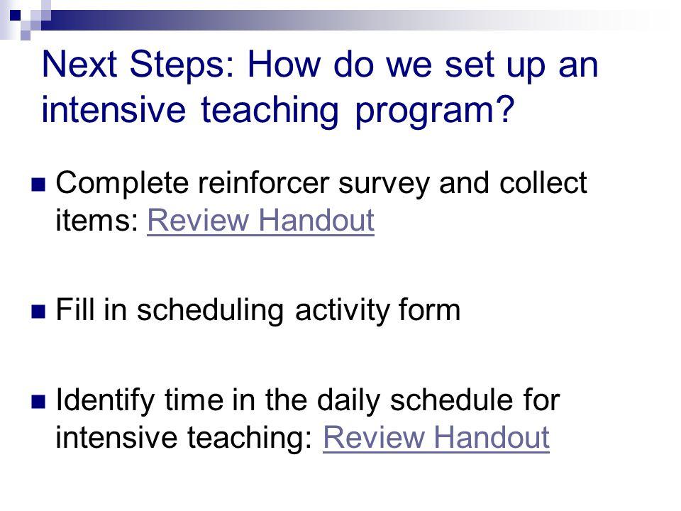 Next Steps: How do we set up an intensive teaching program.