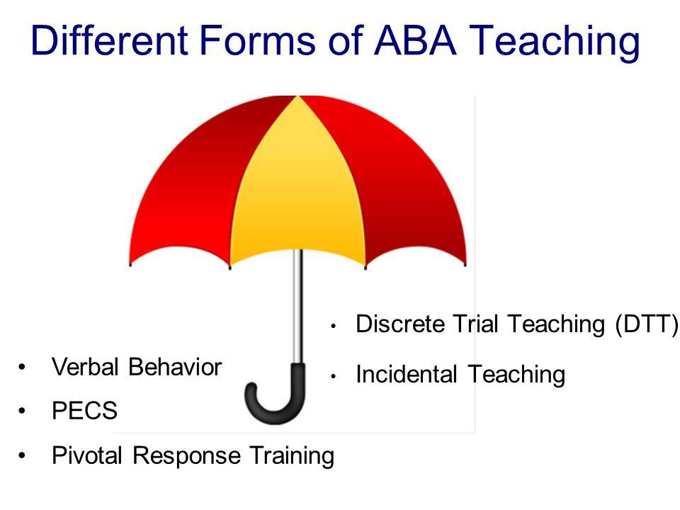 Different Forms of ABA Teaching Discrete Trial Teaching (DTT) Incidental Teaching Verbal Behavior PECS Pivotal Response Training