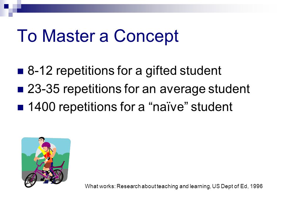 To Master a Concept 8-12 repetitions for a gifted student 23-35 repetitions for an average student 1400 repetitions for a naïve student What works: Research about teaching and learning, US Dept of Ed, 1996