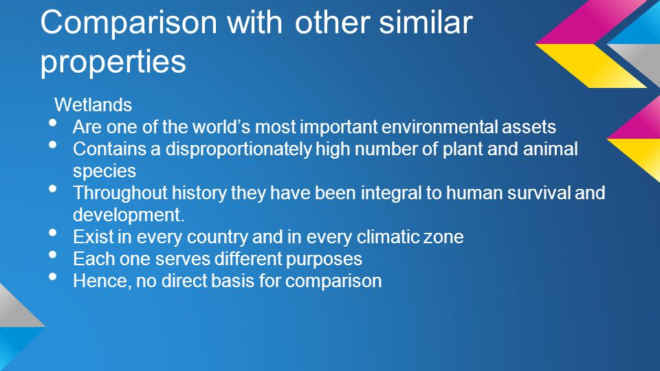 Comparison with other similar properties Wetlands Are one of the world's most important environmental assets Contains a disproportionately high number of plant and animal species Throughout history they have been integral to human survival and development.