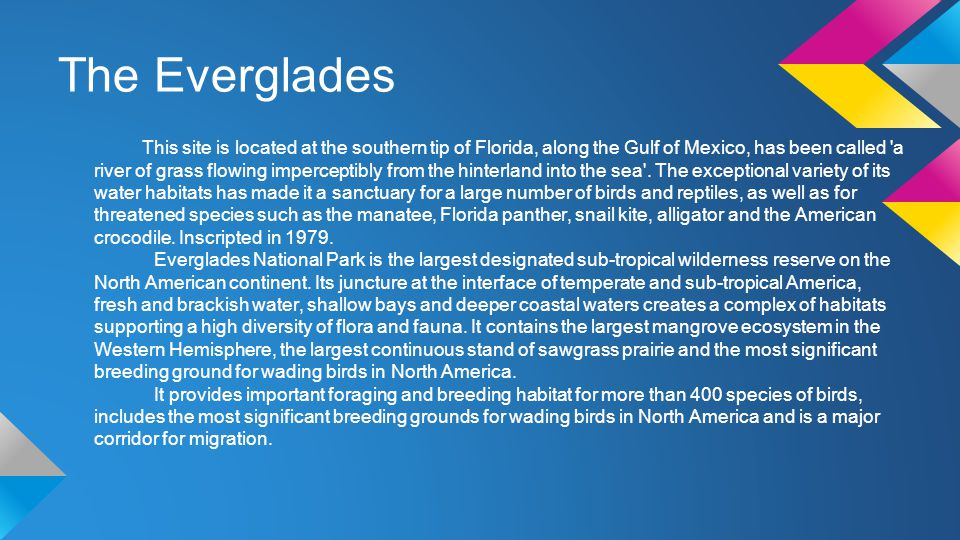 The Everglades This site is located at the southern tip of Florida, along the Gulf of Mexico, has been called a river of grass flowing imperceptibly from the hinterland into the sea .