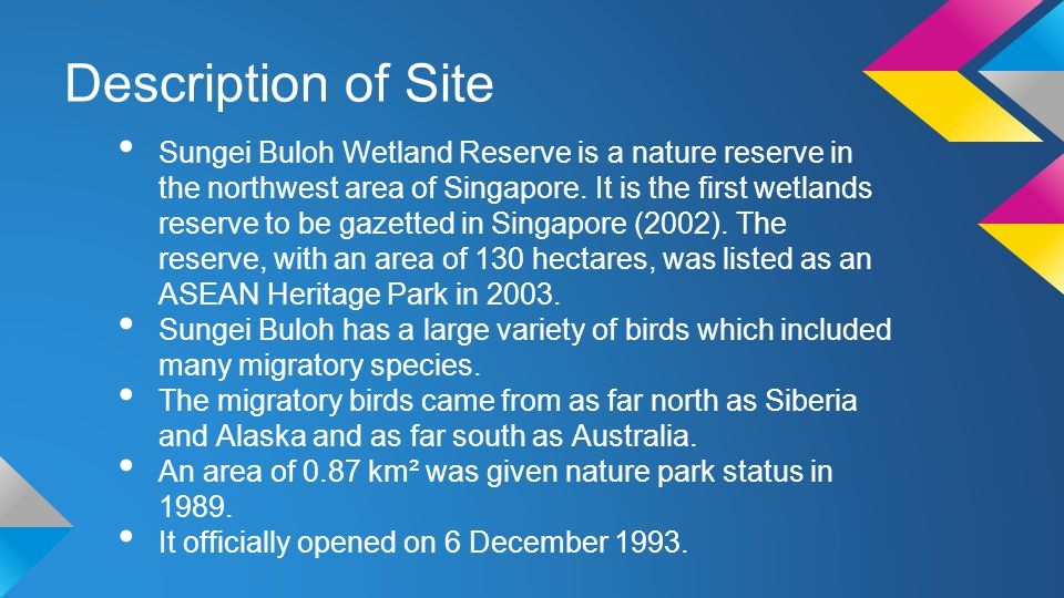 Description of Site Sungei Buloh Wetland Reserve is a nature reserve in the northwest area of Singapore.