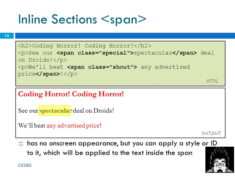 Inline Sections 13 Coding Horror. See our spectacular deal on Droids.