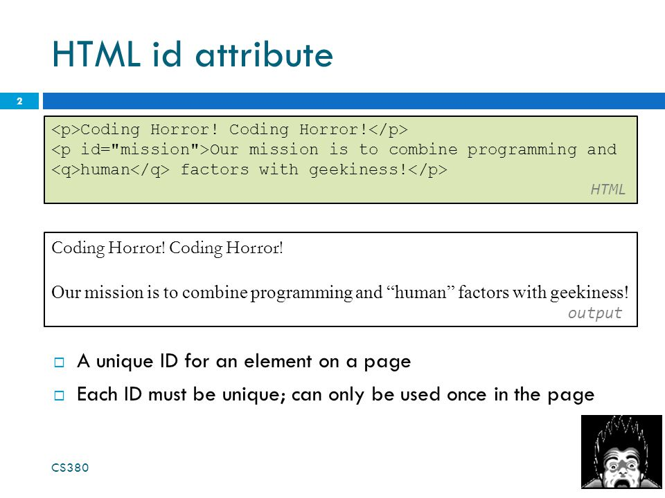 HTML id attribute 2 Coding Horror.
