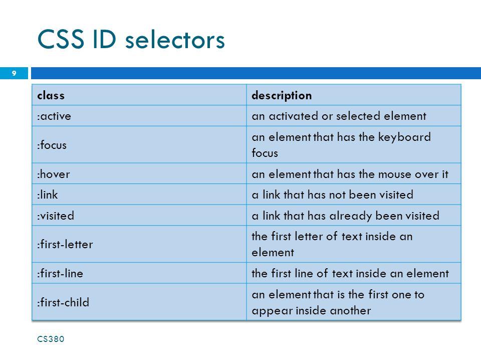 CSS ID selectors 9 CS380