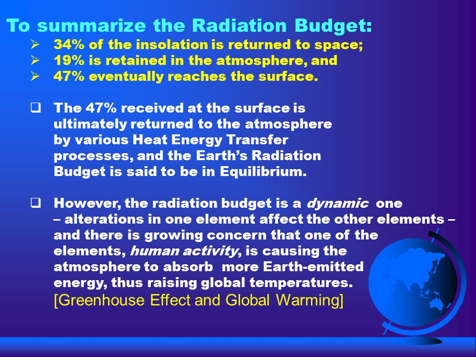 To summarize the Radiation Budget:  34% of the insolation is returned to space;  19% is retained in the atmosphere, and  47% eventually reaches the surface.