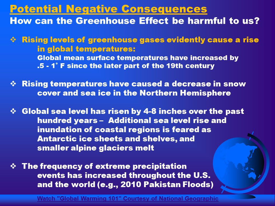 Potential Negative Consequences How can the Greenhouse Effect be harmful to us.